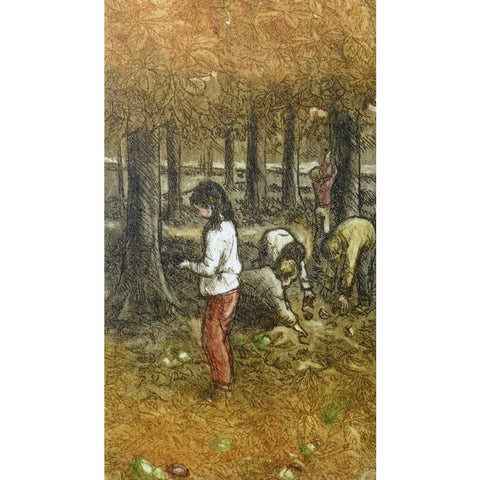 Limited edition etching of people foraging in the woods by artist Valerie Christmas