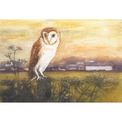 Limited edition etching of a barn owl and distant farm by artist Valerie Christmas