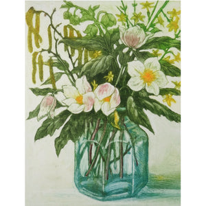 Limited edition etching of flowers in a jar by artist Valerie Christmas