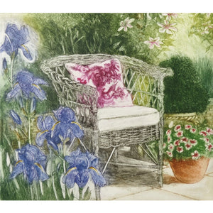 Limited edition etching of a garden chair and flowers by artist Valerie Christmas