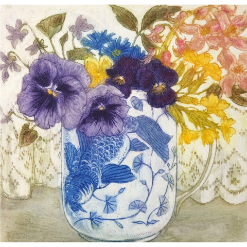 Limited edition etching of flowers by artist Valerie Christmas