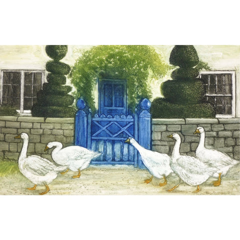 Limited edition etching of geese walking past a cottage by artist Valerie Christmas