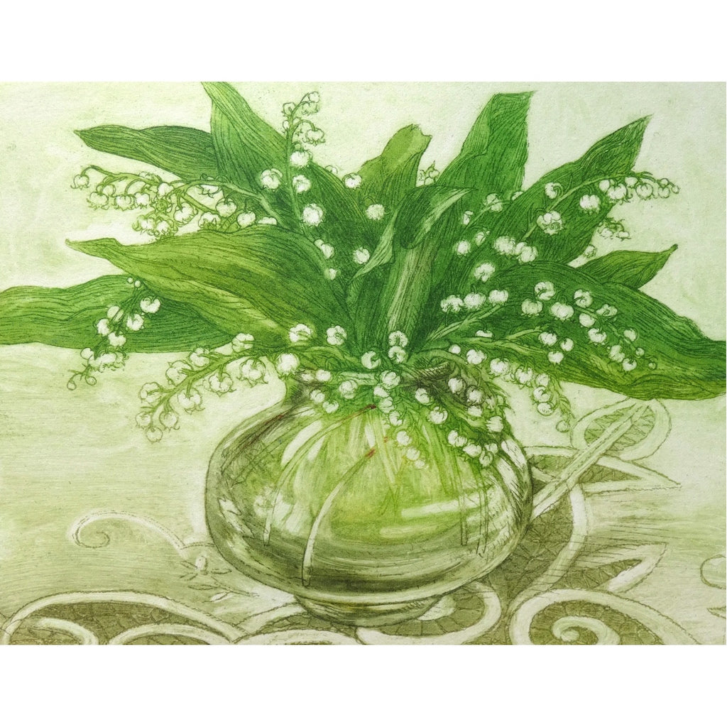 Limited edition etching of lilies in a vase by artist Valerie Christmas
