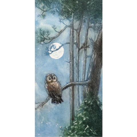 Limited edition etching of an owl sitting under the full moon by artist Valerie Christmas