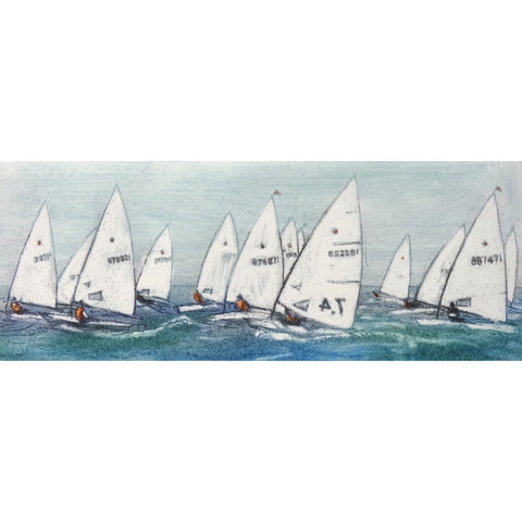 Limited edition etching of boats sailing by artist Valerie Christmas