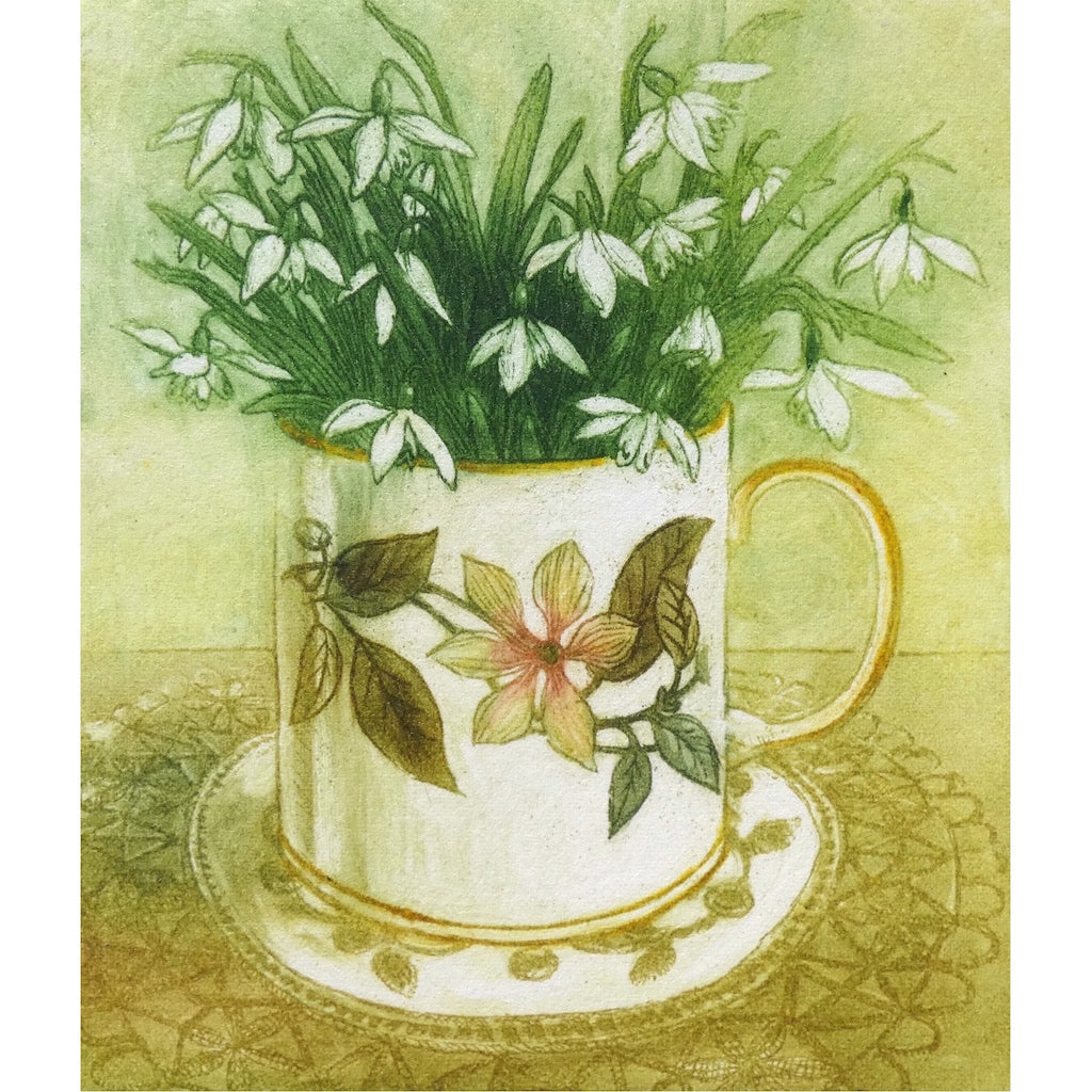Limited edition etching of snowdrops in a mug by artist Valerie Christmas
