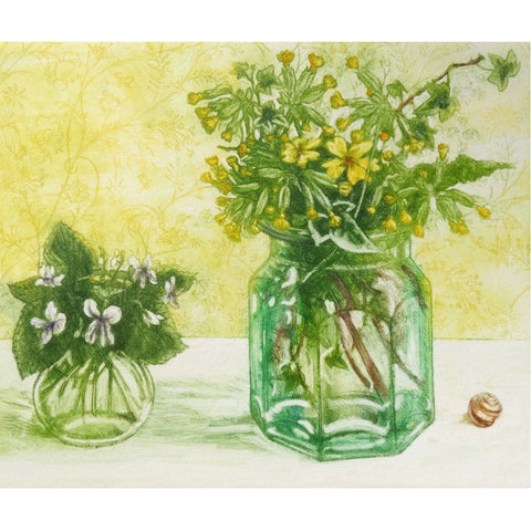 Limited edition etching of spring flowers by artist Valerie Christmas