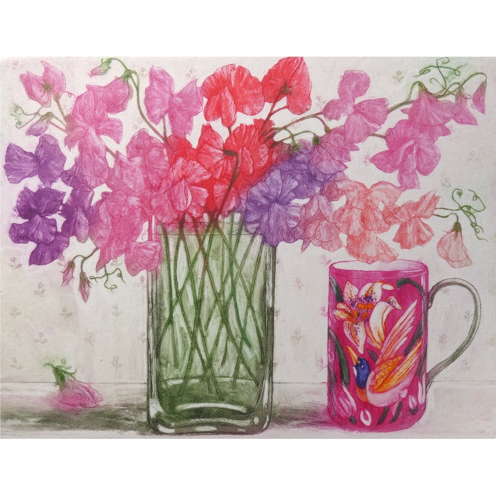 Limited edition etching of sweet peas and a colourful mug by artist Valerie Christmas