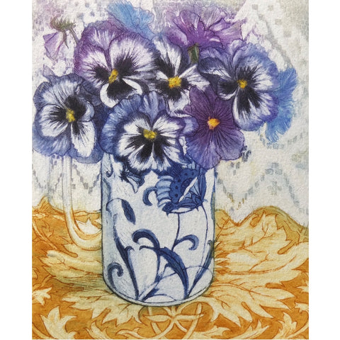 Limited edition etching of pansies by artist Valerie Christmas