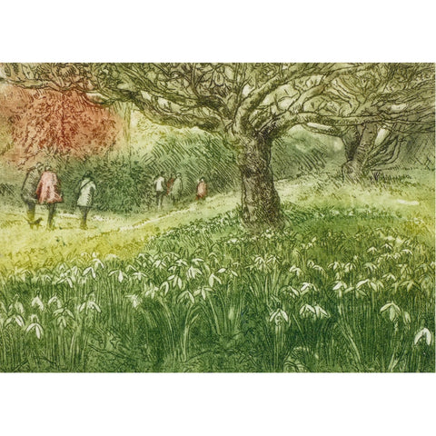 Limited edition etching of people walking through the woods by artist Valerie Christmas