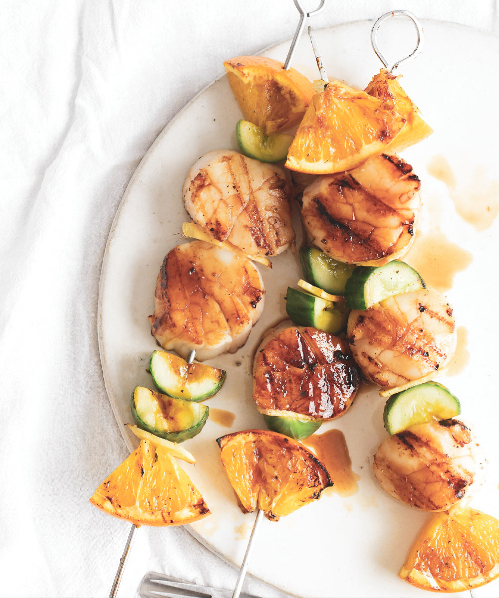 SCALLOP, ORANGE AND CUCUMBER KEBABS