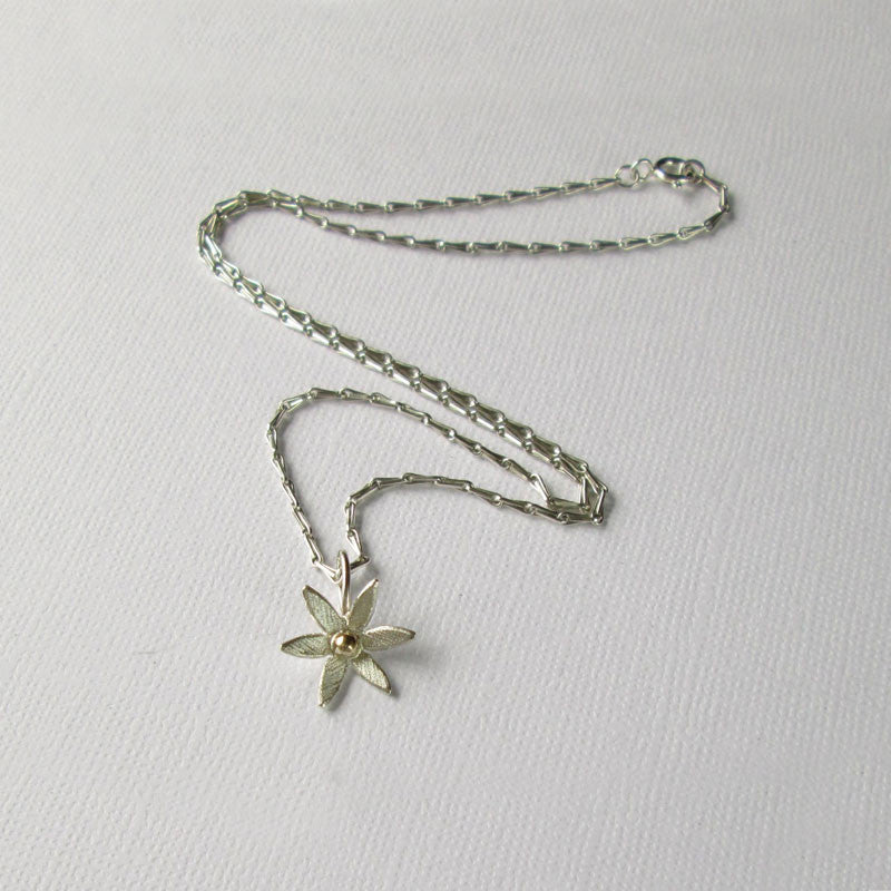 Daisy Collection Small Silver & Gold Pendant and Silver Chain