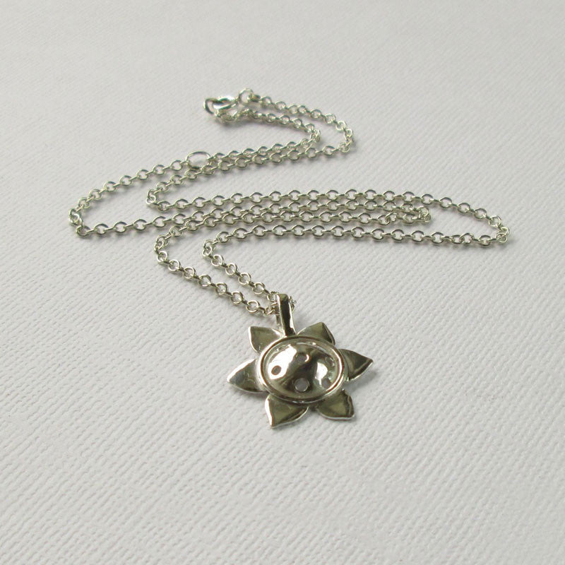Sunflower Collection - Small Silver Pendant & Silver Chain