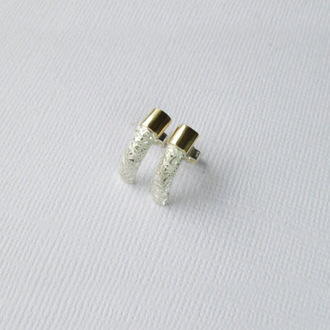 Textured Satin Collection Silver & Gold D-Shape Earrings