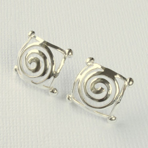 Square Jester Collection Silver Earrings