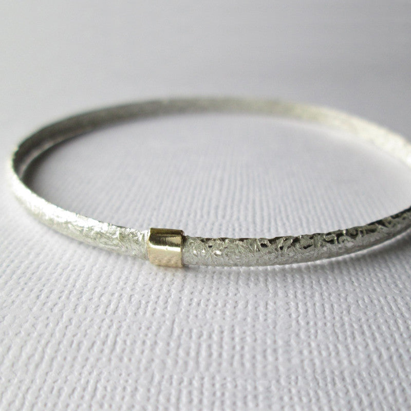 Textured Satin Collection Silver & Gold D-Shape Bangle