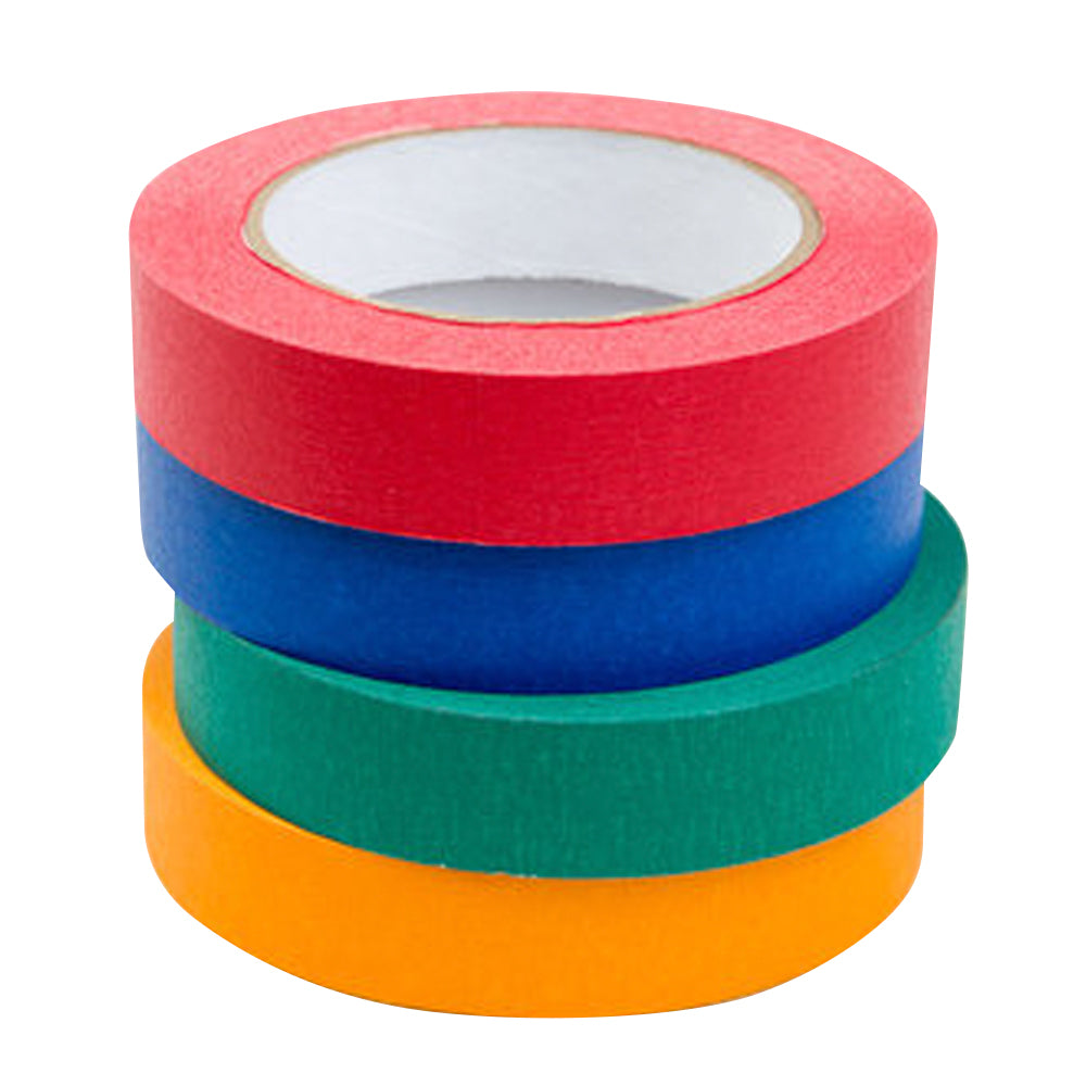 "1"" x 55 YDS Masking Tape - 4 Pack Assorted Bright Colors"