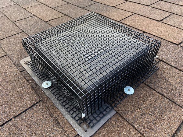 roof vent cover installed over existing plastic roof vent