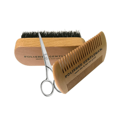 Beard Grooming Kit with Brush, Scissors, and Comb - Polished Gentleman