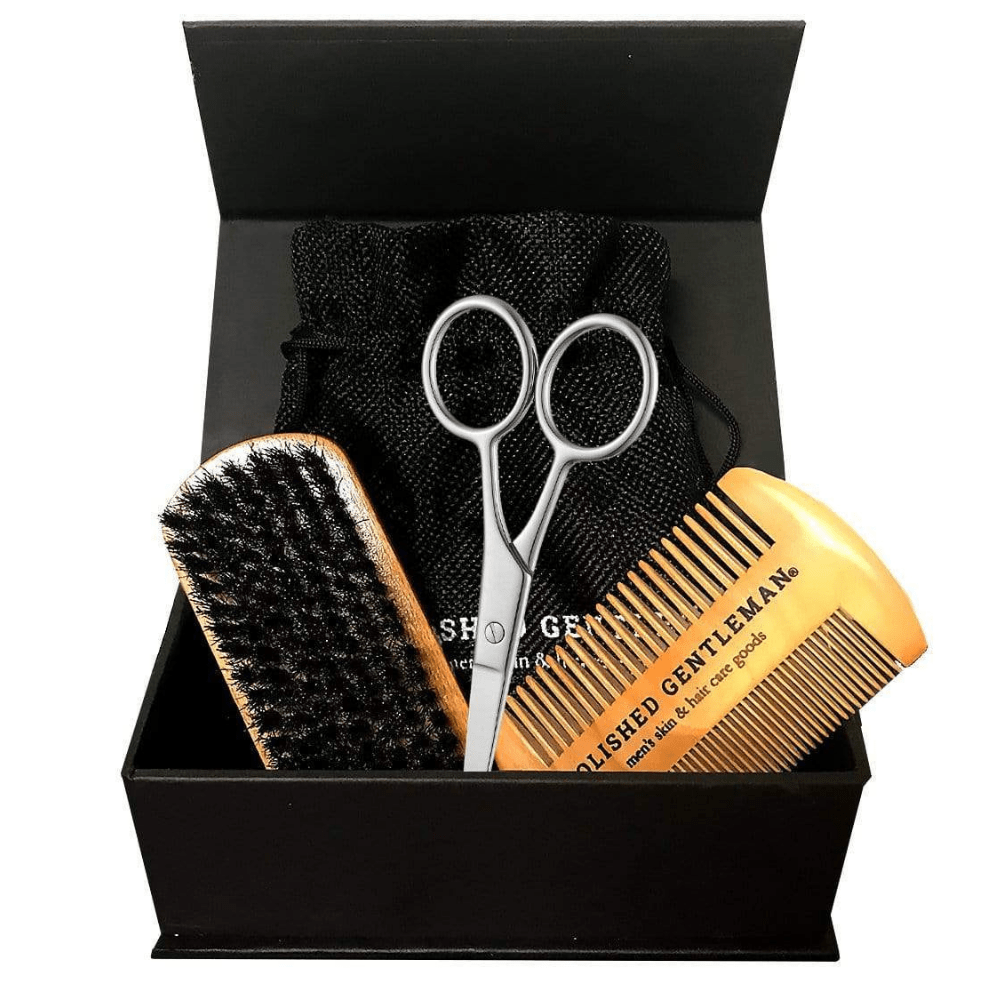 Polished Gentleman Club Beard Grooming Kit with Brush, Scissors, and Comb