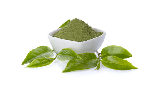 green tea powder and leaves