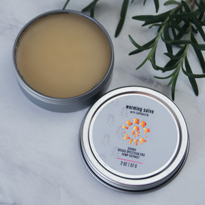 TerraVita warming cbd salve for pain with 500mg of broad spectrum cbd and capsaicin.