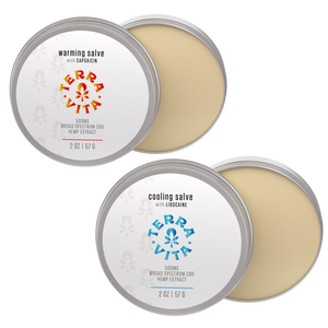 TerraVita CBD Hot/Cold Therapy Bundle: Includes one warming cbd salve and one cooling cbd salve with 500mg of broad spectrum cbd.