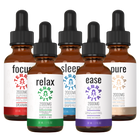 Load image into Gallery viewer, TerraVita Ultimate CBD Oil Bundle. Includes each of our tinctures- focus, relax, sleep, ease and pure with 2000mg of full spectrum CBD oil.