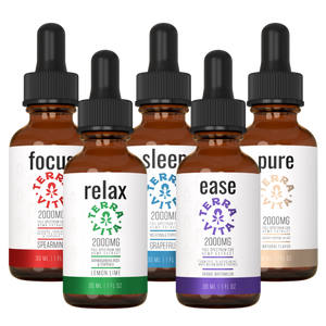TerraVita Ultimate CBD Oil Bundle. Includes each of our tinctures- focus, relax, sleep, ease and pure with 2000mg of full spectrum CBD oil.