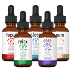 Load image into Gallery viewer, TerraVita Ultimate CBD Oil Bundle. Includes each of our tinctures- focus, relax, sleep, ease and pure with 500mg of full spectrum CBD oil.