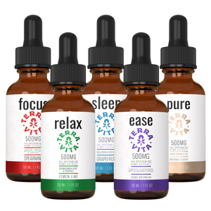 TerraVita Ultimate CBD Oil Bundle. Includes each of our tinctures- focus, relax, sleep, ease and pure with 500mg of full spectrum CBD oil.