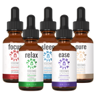 Load image into Gallery viewer, TerraVita Ultimate CBD Oil Bundle. Includes each of our tinctures- focus, relax, sleep, ease and pure with 1000mg of full spectrum CBD oil.