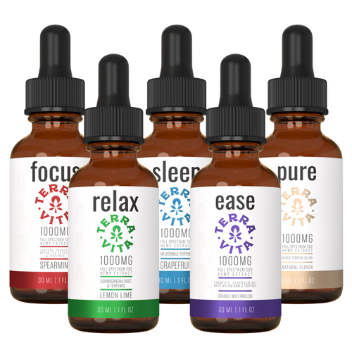 TerraVita Ultimate CBD Oil Bundle. Includes each of our tinctures- focus, relax, sleep, ease and pure with 1000mg of full spectrum CBD oil.
