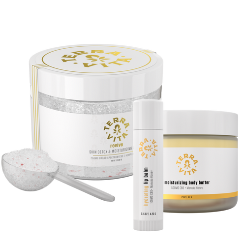TerraVita CBD Beauty Bundle: Includes 1 revive CBD bath soak, 1 Manuka Honey hydrating CBD lip balm and 1 Manuka Honey Moisturizing CBD Body Butter.