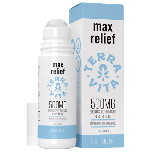 TerraVita CBD Max Relief. CBD pain relief roll on gel to help with sore muscles, aches and pains. 500mg broad spectrum CBD with cooling menthol and aloe vera for deep penetrating pain relief.
