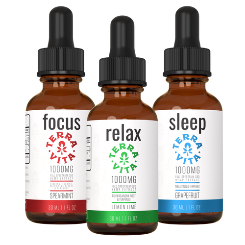 TerraVita Daily Trio Bundle 1000mg: Includes one focus cbd oil tincture, one relax cbd oil tincture and one sleep cbd oil tincture.