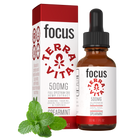 Load image into Gallery viewer, TerraVitall spectrum CBD hemp extract with ginseng, taurine and green t CBD Focus: CBD oil for focus and energy. 500mg of fuea extract in spearmint flavor.