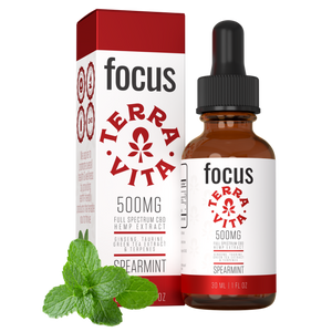 TerraVitall spectrum CBD hemp extract with ginseng, taurine and green t CBD Focus: CBD oil for focus and energy. 500mg of fuea extract in spearmint flavor.