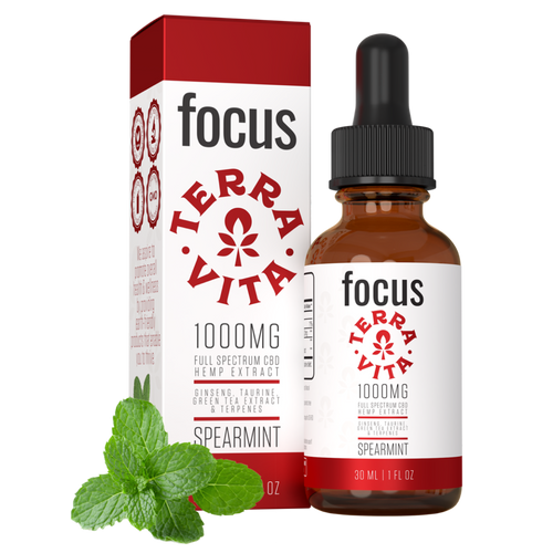 TerraVita CBD Focus: CBD oil for focus and energy. 1000mg of full spectrum CBD hemp extract with ginseng, taurine and green tea extract in spearmint flavor.