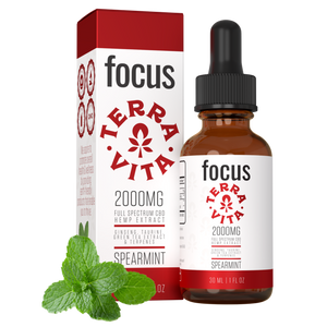 TerraVita CBD Focus: CBD oil for focus and energy. 2000mg of full spectrum CBD hemp extract with ginseng, taurine and green tea extract in spearmint flavor.