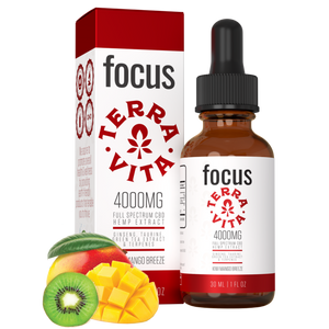 TerraVita CBD Focus: CBD oil for focus and energy. 4000mg of full spectrum CBD hemp extract with ginseng, taurine and green tea extract in kiwi mango breeze flavor.