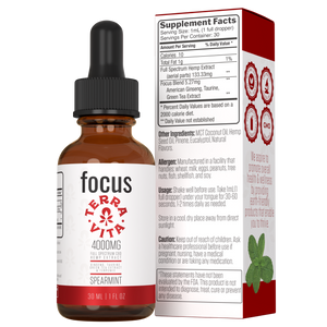 TerraVita CBD Focus: CBD oil for focus and energy. 4000mg of full spectrum CBD hemp extract with ginseng, taurine and green tea extract in spearmint flavor.