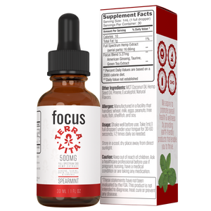TerraVita CBD Focus: CBD oil for focus and energy. 500mg of full spectrum CBD hemp extract with ginseng, taurine and green tea extract in spearmint flavor.