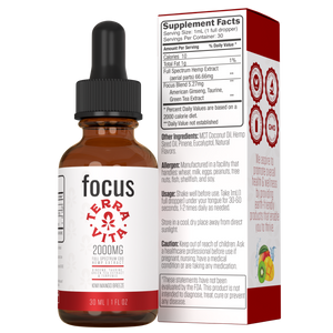 TerraVita CBD Focus: CBD oil for focus and energy. 2000mg of full spectrum CBD hemp extract with ginseng, taurine and green tea extract in kiwi mango breeze flavor.
