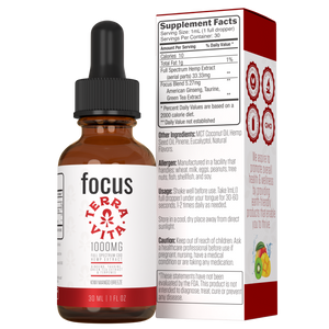 TerraVita CBD Focus: CBD oil for focus and energy. 1000mg of full spectrum CBD hemp extract with ginseng, taurine and green tea extract in kiwi mango breeze flavor.