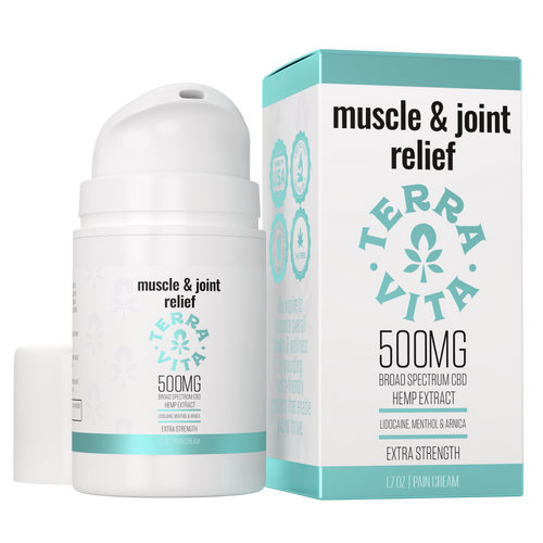 TerraVita muscle and joint relief CBD Cream for Pain. Contains 500mg of broad spectrum CBD with lidocaine, menthol and arnica.