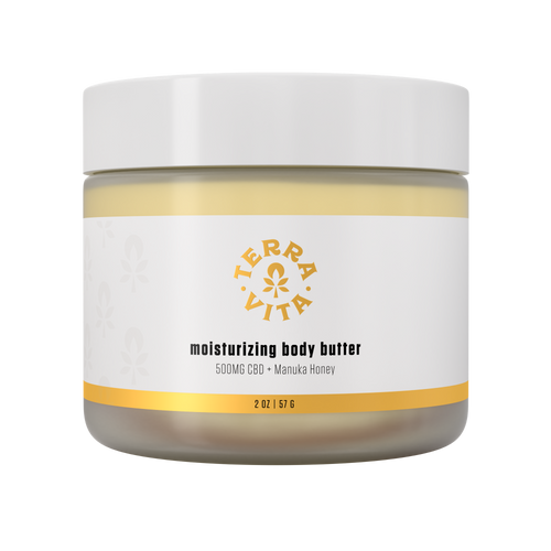 TerraVita CBD moisturizing body butter with 500mg of CBD, Manuka Honey, Hyaluronic acid and vitamin C.