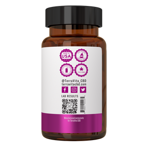 TerraVita CBD Balance: CBD capsules for female pms support. 30mg THC-Free broad spectrum CBD with chasteberry, magnesium, Calcium, B6. 30 capsules per bottle.