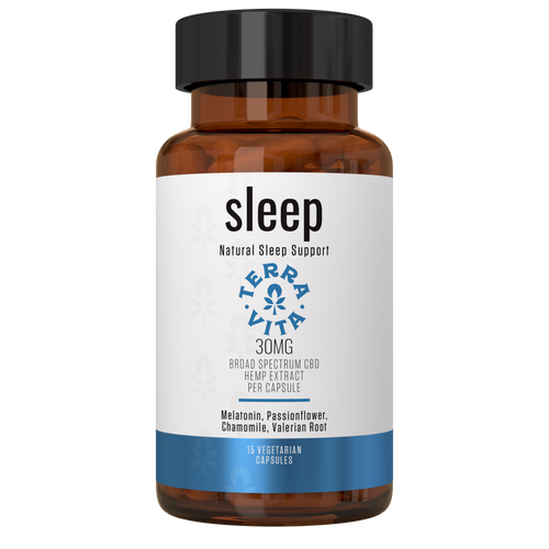 TerraVita's CBD Capsules for Sleep combines 30mg of Premium Broad Spectrum CBD per capsule (15CT) with proven, sleep inducing ingredients. Our powerful, all natural sleep inducing formula combines Melatonin (4mg per serving), Valerian Root, L-Theanine and Chamomile to help make poor sleep a thing of the past, giving your body the rest it deserves!