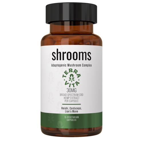 TerraVita shrooms cbd capsules. 30mg of broad spectrum cbd per capsule with an adaptogenic blend of mushrooms- reishi, cordyceps and lions mane for energy, anxiety and mental clarity. 15 cbd capsules per bottle.